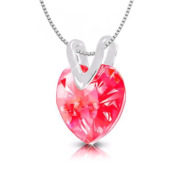 שרשרת כסף 925 עם קריסטל בצורת לב אדום! SWAROVSKI אמיתי