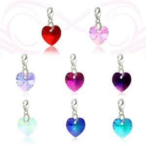 צ'רם SWAROVSKI אמיתי בצורת לב במגוון צבעים מהמם! להוספה לצמידים. סוגר מכסף 925.