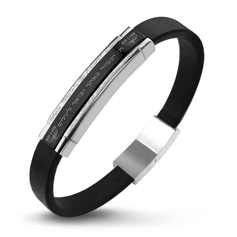 A steel leather bracelet for men that will keep you going and coming to you in stunning health. Special PVD black coating on top of a steel plate.