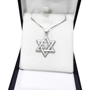 שרשרת מגן דוד מהממת מכסף 925 משובץ קריסטל לבן באמצע.
