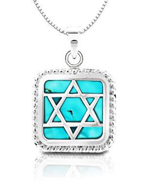 שרשרת מגן דוד אבן טורקיז