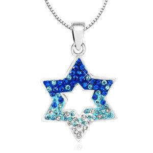 שרשרת מגן דוד קריסטלים כחול לבן