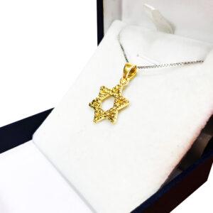 שרשרת מגן דוד קלאסית לגבר אישה עם טקסטורה. ציפוי זהב 14K