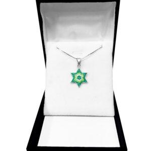 שרשרת מגן דוד מכסף 925 משובץ קריסטלים.