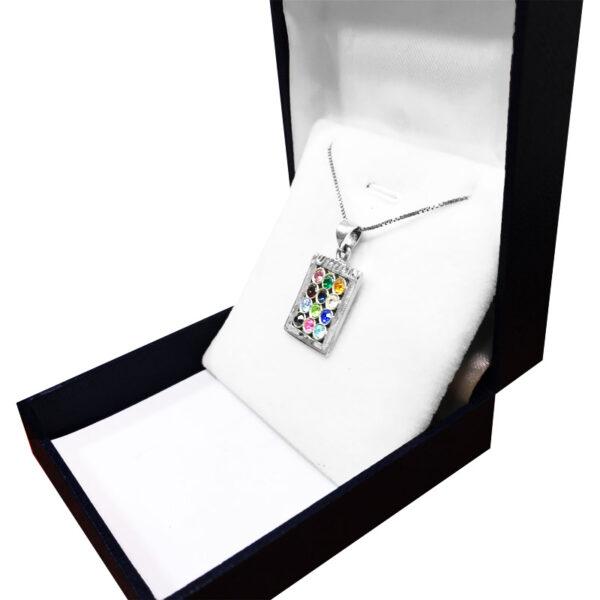 """שרשרת חושן מכסף 925. מגיעה עם שרשרת בוקס 45 ס""""מ מכסף, וקופסת מתנה."""