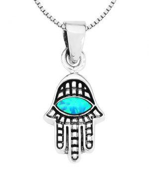 שרשרת חמסה מכסף 925 משובצת אבן אופל כחולה.