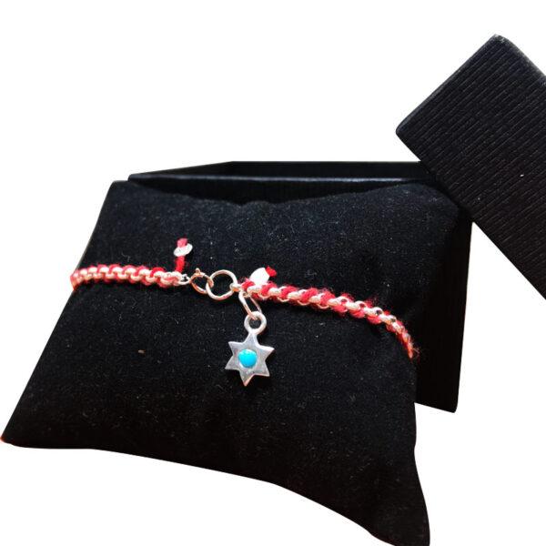 צמיד קבלה מכסף 925 חוט אדום! עם צ'רם מגן דוד מכסף עם אבן טורקיז.