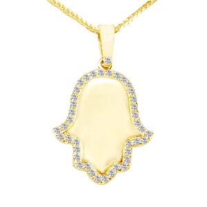 חמסה זהב צהוב 14K מהממת משובץ קריסטלים לבנים. לרכישה עם או ללא שרשרת. אחריות ל 12 חודשים.