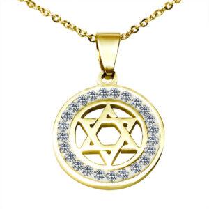 שרשרת סטיל עם ציפוי זהב עגולה מגן דוד ועיטורים! משובצת קריסטלים לבנים. מחיר מבצע.