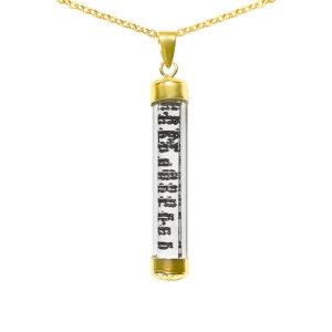 שרשרת מזוזה אופנה מדהימה לגבר או אישה ציפוי זהב 14Kכולל שרשרת ( לא נפתח )