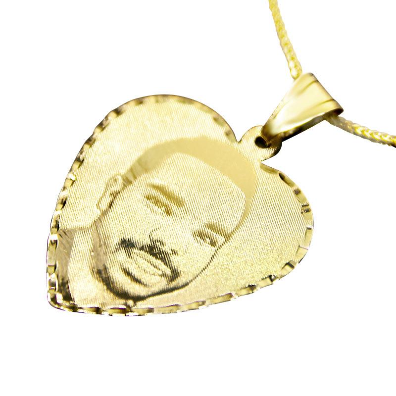 Потрясающее ожерелье в форме сердца из желтого золота 14 карат с лазерной гравировкой.,