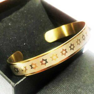 צמיד סטיל ציפוי זהב מגני דוד נפתח