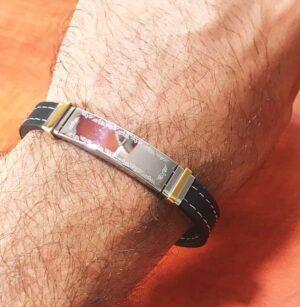 צמיד סטיל לחריטה עם רצועת סיליקון איכותית - חלק ללא כיתוב, עם עיטורים סביב מוכן לחריטה