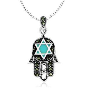 שרשרת חמסה קלאסית לגבר או לאישה. משובצת עם אבני טורקיז בצורת מגן דוד ואבני מרקזיטות שחורות.