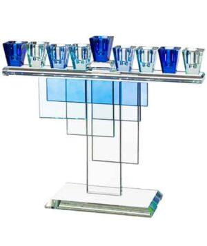 חנוכיה קריסטל מהודרת עם גווני כחול 28X20 ס