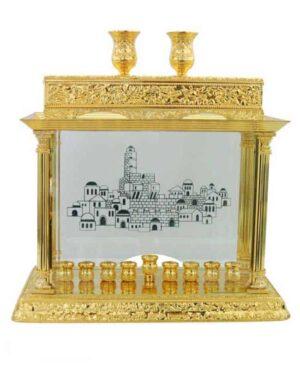 חדש! חנוכייה חנוכיה קישוטית גדולה זהב דלוקס 26X40 ס מ. דפנות זכוכית. עם עיטורי ירושלים. שליח עד הבית חינם!
