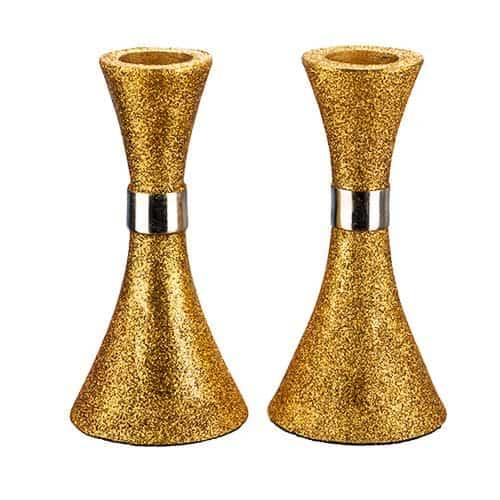 """פמוט אלומיניום בגוון זהב נצנצים - 11 ס""""מ"""