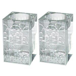 חדש! פמוטי שבת 8 * 5סמ מהודרים ומהממים מזכוכית עם עיטורי חומות ירושלים מוכספים
