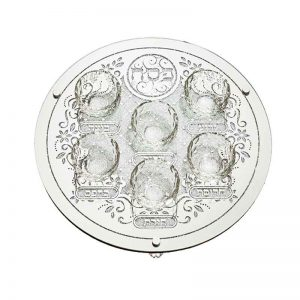 "Elegant glass Passover tray with 6 Bums 40 ס""מ"