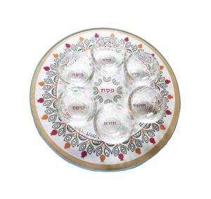 """צלחת פסח 33 ס""""מ מעוצבת עם 6 צלוחיות זכוכית -מיוצר בישראל בעבודת יד."""