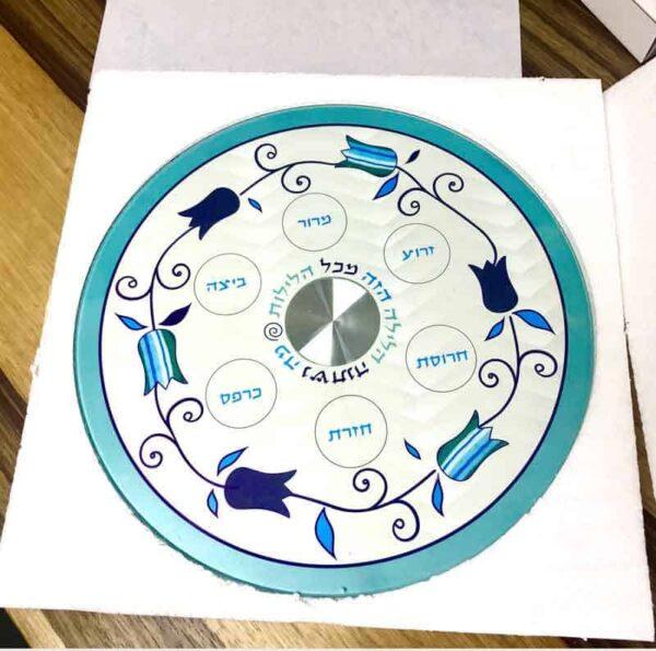 """צלחת פסח 33 ס""""מ מעוצבת גוונים כחולים מהממים עם 6 צלוחיות זכוכית -מיוצר בישראל בעבודת יד."""