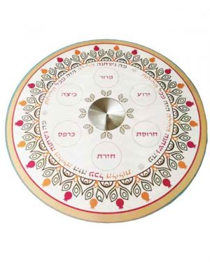"""צלחת פסח 33 ס""""מ מעוצבת גוונים צבעוני מהממים עם 6 צלוחיות זכוכית -מיוצר בישראל בעבודת יד."""