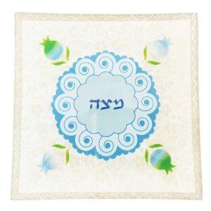 """צלחת מצה זכוכית 25*25 צלחת פסח 33 ס""""מ מעוצבת גוונים כחול לבן פרחים מהממים -מיוצר בישראל בעבודת יד."""