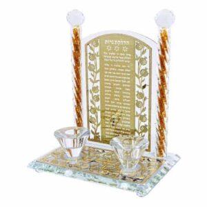 """פמוטי קריסטל זהב עם פלקטה הדלקת נרות """"ירושלים"""" 25 ס""""מ"""