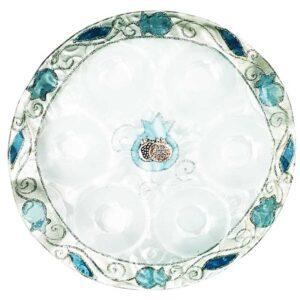 צלחת ברכות מזכוכית לראש השנה מעוצבת ומיוצרת בישראל .