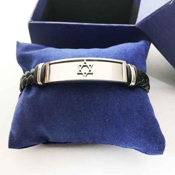 """צמיד לגבר או לאשה """"מגן דוד"""" מסטיל(פלדת אל-חלד) איכותי עם רצועת גומי שזור! מתנות ישראל"""
