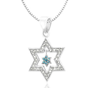 "Silver Star of David pendant 925 With another small Star of David dangling with blue crystals for a man or a woman. Includes silver necklace 925 45 ס""מ. Including courier to the house!"