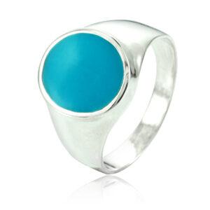 """טבעת כסף 925 קלאסית משובצת אבן """"טורקיז"""" לגבר. מחיר מבצע כולל שליח עד הבית!"""