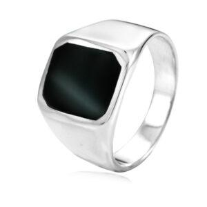"""טבעת כסף 925 קלאסית משובצת אבן """"אוניקס"""" ריבוע לגבר. מחיר מבצע כולל שליח עד הבית!"""