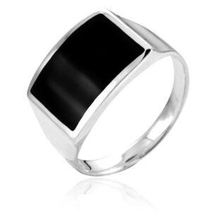 """טבעת כסף 925 קלאסית משובצת אבן """"אוניקס"""" מלבני לגבר. מחיר מבצע כולל שליח עד הבית!"""