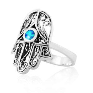 """טבעת חמסה מכסף 925 """"פיליגרין"""" מהממת גדולה משובצת אבן אופל במרכזה. מבצע עם שליח עד הבית!"""