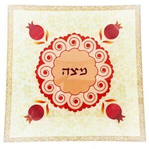 """צלחת מצה זכוכית 25*25 צלחת פסח 33 ס""""מ מעוצבת גוונים אדומים \ כתומים ועיטורי רימונים מהממים -מיוצר בישראל בעבודת יד."""