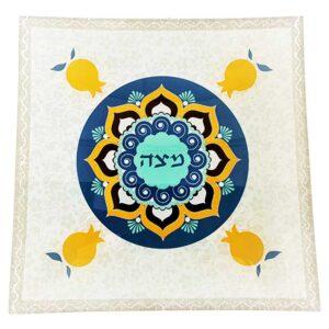"""צלחת מצה זכוכית 25*25 צלחת פסח 33 ס""""מ מעוצבת גוונים כחול כתום רימונים מהממים -מיוצר בישראל בעבודת יד."""