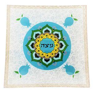 """צלחת מצה זכוכית 25*25 צלחת פסח 33 ס""""מ מעוצבת גוונים תכלת כתום רימונים מהממים -מיוצר בישראל בעבודת יד."""