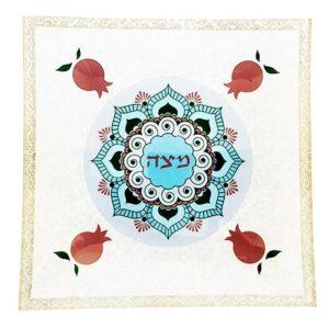 """צלחת מצה זכוכית 25*25 צלחת פסח 33 ס""""מ מעוצבת גוונים אדומים \ תכלת ועיטורי רימונים מהממים -מיוצר בישראל בעבודת יד."""