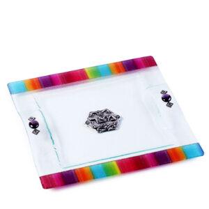 צלחת מצה זכוכית מעוצבת צבעונית מהממים -מיוצר בישראל בעבודת יד.