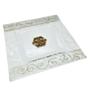 צלחת מצה זכוכית מעוצבת בעבודת יד ועם עיטורי זהב מהממים -מיוצר בישראל בעבודת יד.