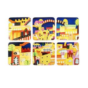 סט 6 תחתיות מודפסות עם עיטורי נופי ירושלים. מעוצב ומיוצר ע