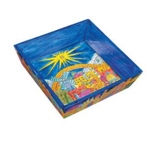 צלחת מצה מהודרת מעץ מציור עמנואל - עיטורי ירושלים. 32*40*5 ס