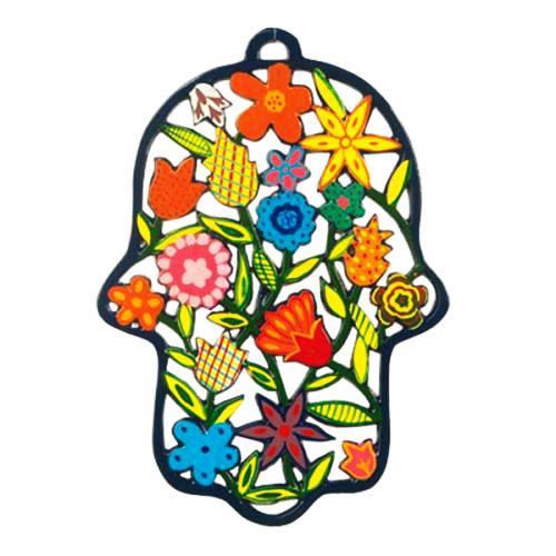 """חמסה גדולה ומרשימה ( 18*18 ס""""מ ) לתלייה ממתכת בחיתוך לייזר צבועה ביד """"ופרחים"""" בשלל צבעים עזים - יאיר עמנואל."""