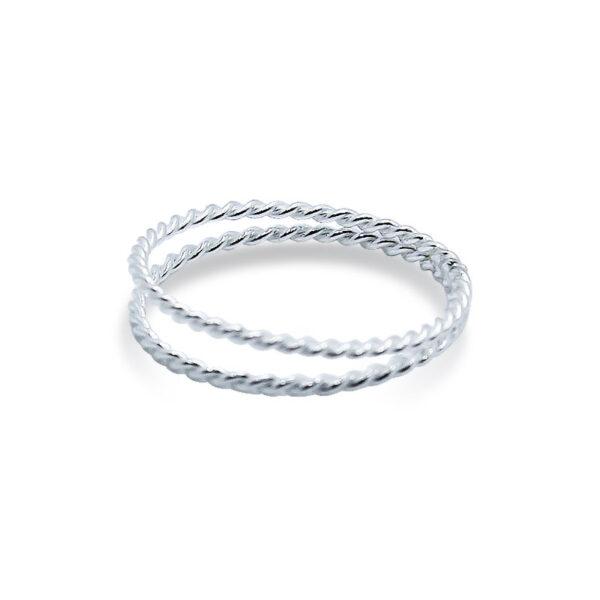 טבעת מסולסלת כפולה מכסף 925. מחיר מבצע מיוחד