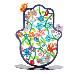 """סטנד חמסה גדולה ומרשימה ( 18*18 ס""""מ ) ממתכת בחיתוך לייזר צבועה ביד """"פרפרים ופרחים"""" בשלל צבעים עזים - יאיר עמנואל."""