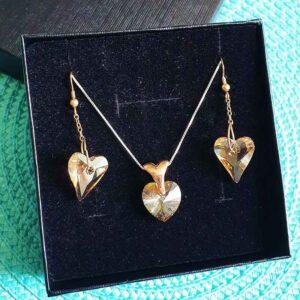 סט לב סברובסקי מכסף 925 עגילי לב שמפניה + שרשרת לב קריסטל תואם ציפוי זהב אדום!