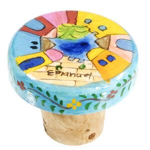 פקק שעם מצויר לבקבוק יין - עם עיטורי נופי ירושלים מעגלי. מעוצב ומיוצר ע