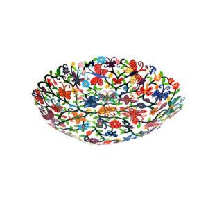 קערת פרפרים ופרחים בינונית ( 25*30*5 ס