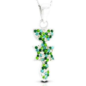 שרשרת מנורה מגן דוד דג מכסף 925 משובץ קריסטלים ירוקים לבנים שיבוץ פרידו ידני.